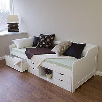 Tagesbett holz  Homestyle4u 1422 Amrum Holzbett Tagesbett Gästebett aus Kiefer B x ...