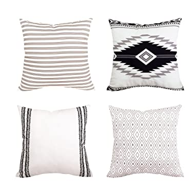 BLEUM CADE Pillow Cover Cushion Cover Modern Decorative Throw Pillow Case for Sofa Couch Bed and Car Set Home Decor 4 Packs (Simple Strings, 18 x 18 )