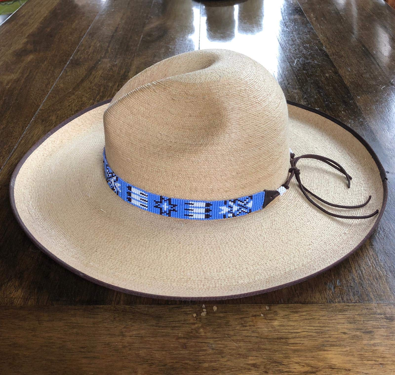 Mayan Arts Hat Band, Hatbands for Men and Women, Leather Straps, Cowboy Beaded Bands, White, Blue Paisley, Handmade in Guatemala 7/8'' X 21'' by Mayan Arts (Image #5)