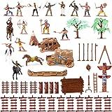 Wild West Cowboys & Indians Plastic Figures Bucket Playset