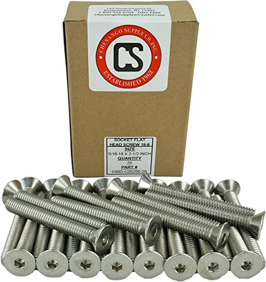 Full Thread 5//16-18 x 1 Coarse Thread Stainless Steel 18-8 Stainless 5//16-18 x 1 Socket Flat Head Screws Hex Drive 5//8 to 3 Available