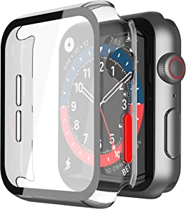 Misxi 2 Pack Hard PC Case with Tempered Glass Screen Protector Ultra-thin iWatch Cover Compatible with Apple Watch Series 6 SE Series 5 Series 4 44mm, Red Button, Clear
