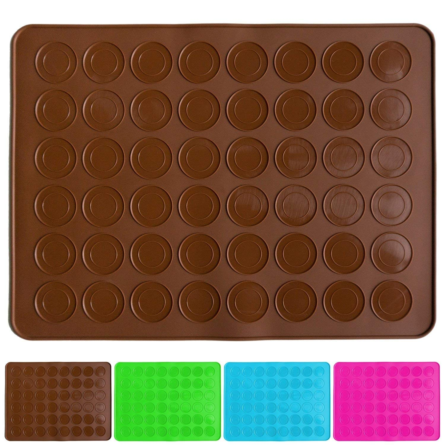 Belmalia macaron silicone baking mat for 24 perfect macarons, 48 moulds, non-stick coated, 38x28cm Brown BM-1002br