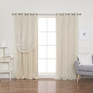 "Best Home Fashion uMIXm Mix and Match Tulle Sheer Lace and Blackout 4 Piece Curtain Set - Stainless Steel Nickel Grommet Top - Beige - 52"" W x 84"" L - (2 Curtains and 2 Sheer Curtains)"