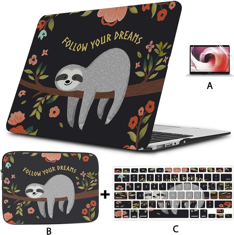 Mackbook Case Follow Your Dreams Cute Baby Sloth On The Tree Macbookpro Case Hard Shell Mac Air 11