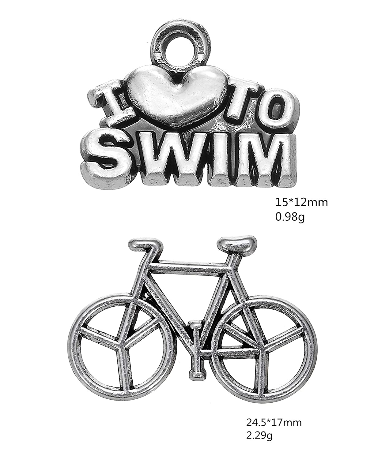 cooltime Stainless Steel Metal California Triathlon Swimming-Cycling-Running Bangle Bracelets Boys Girls Gifts