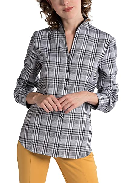 Eterna Long Sleeve Blouse Modern Classic Checked: Amazon.es: Ropa y accesorios