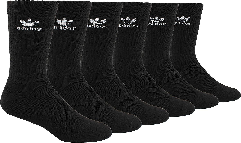 puramente bisonte Sur oeste  Amazon.com: adidas Originals Men's Trefoil Crew Socks (6-Pair),  Black/White, Large, (Shoe Size 6-12): Clothing