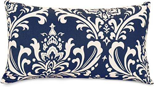 Majestic Home Goods Navy Blue French Quarter Indoor Outdoor Small Throw Pillow 20 L x 5 W x 12 H