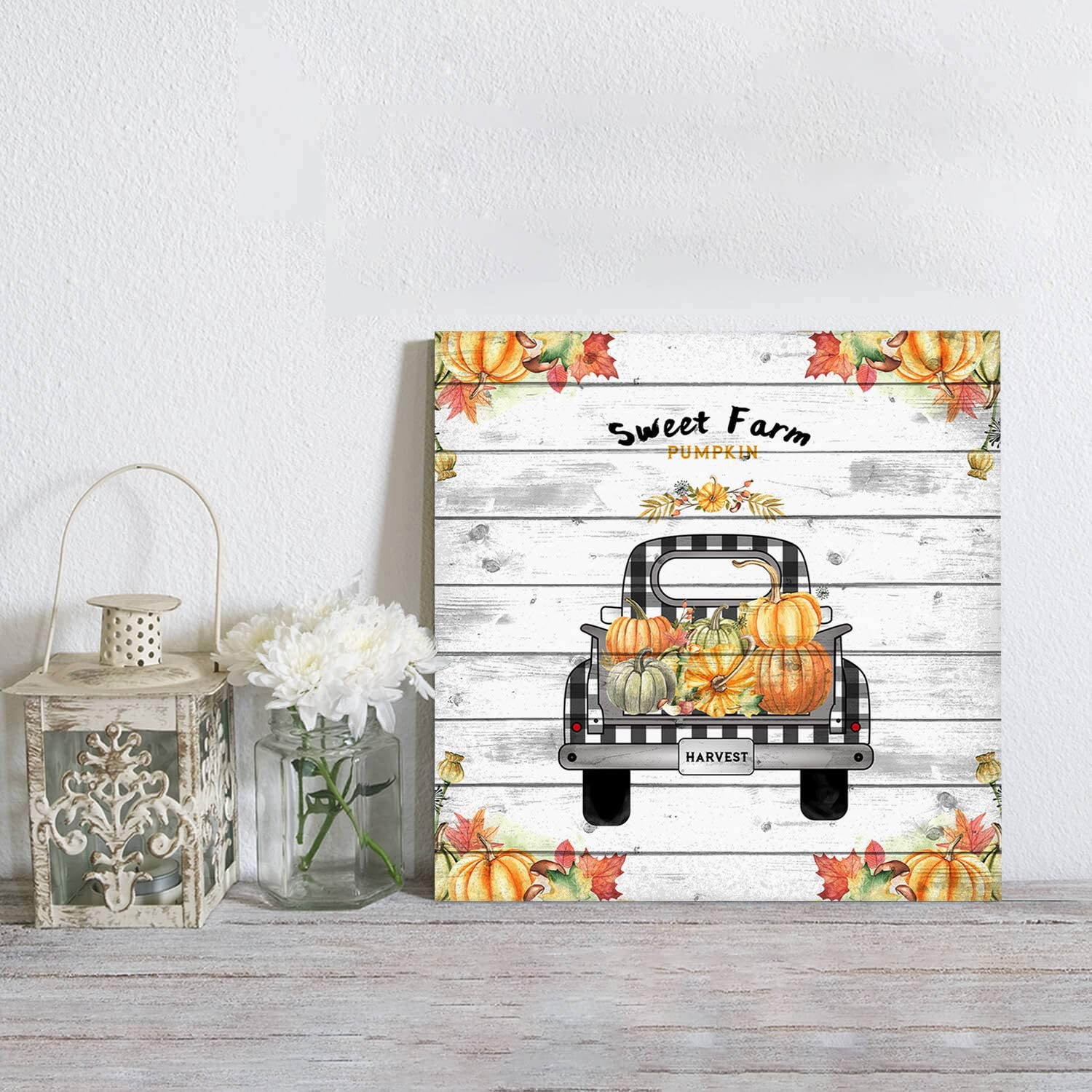 Thanksgiving Canvas Art Wall Canvas Prints Wall Art for Bedroom Canvas Pictures for Wall Art for Office or Living Room Home Decor with Frame Sweet Farm Pumpkin Autumn Harvest Truck Plank 24x24inch