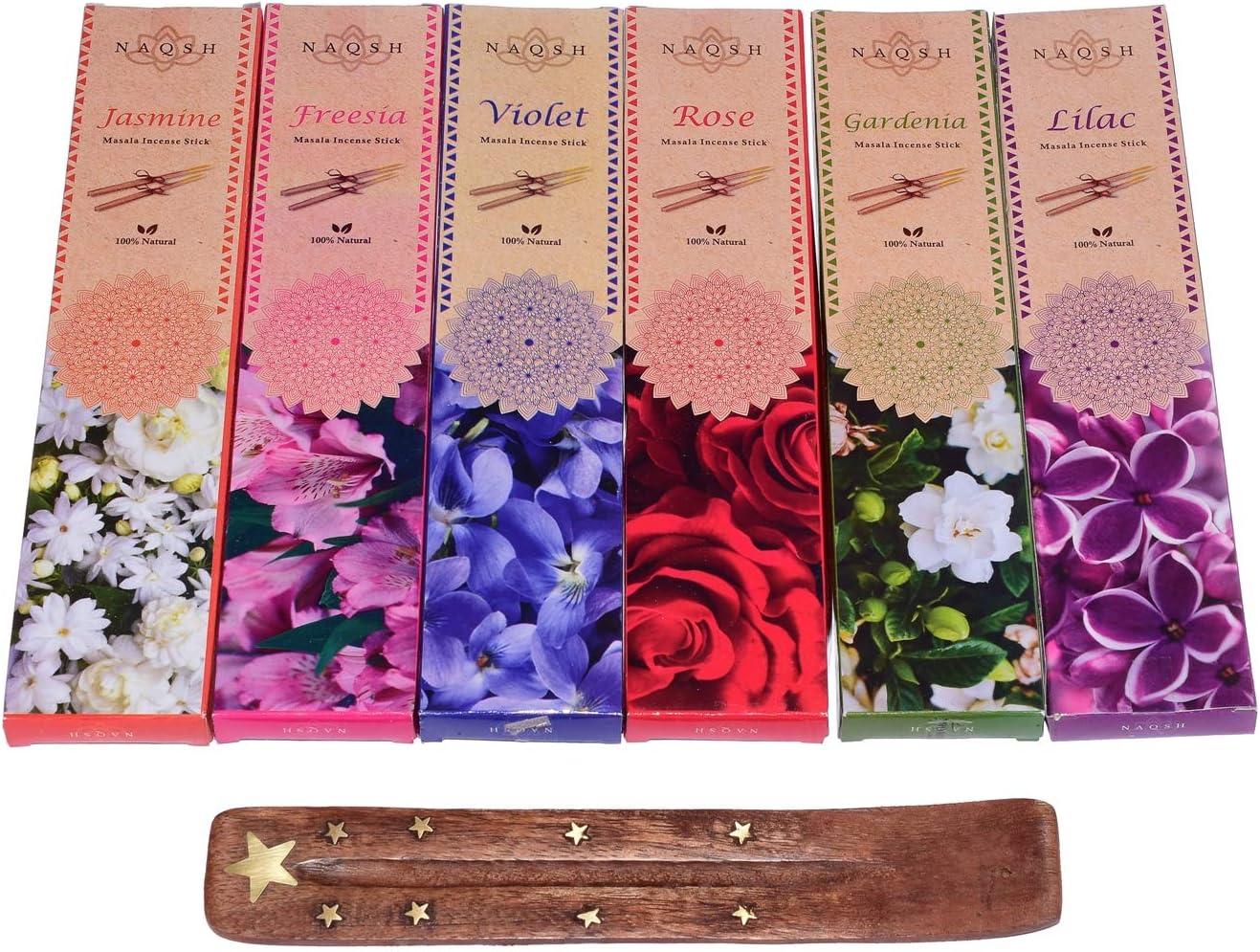 NAQSH Premium Hand Rolled Incense- Assorted 6x20 Exquisite Flowery Aura Incense Sticks Including Violet, Rose, Jasmine, Freesia, Lilac, and Gardenia