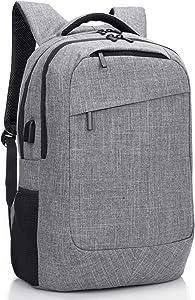 SOCKO Laptop Backpack Lightweight College Backpack Computer Hiking Backpack Water-resistant Rucksack for Women/men (Grey)
