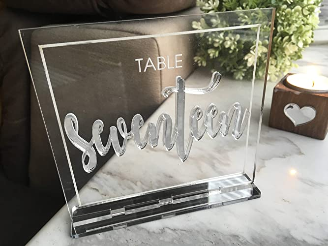 Amazon com: Silver Gold Mirror Wedding Signs Table Numbers
