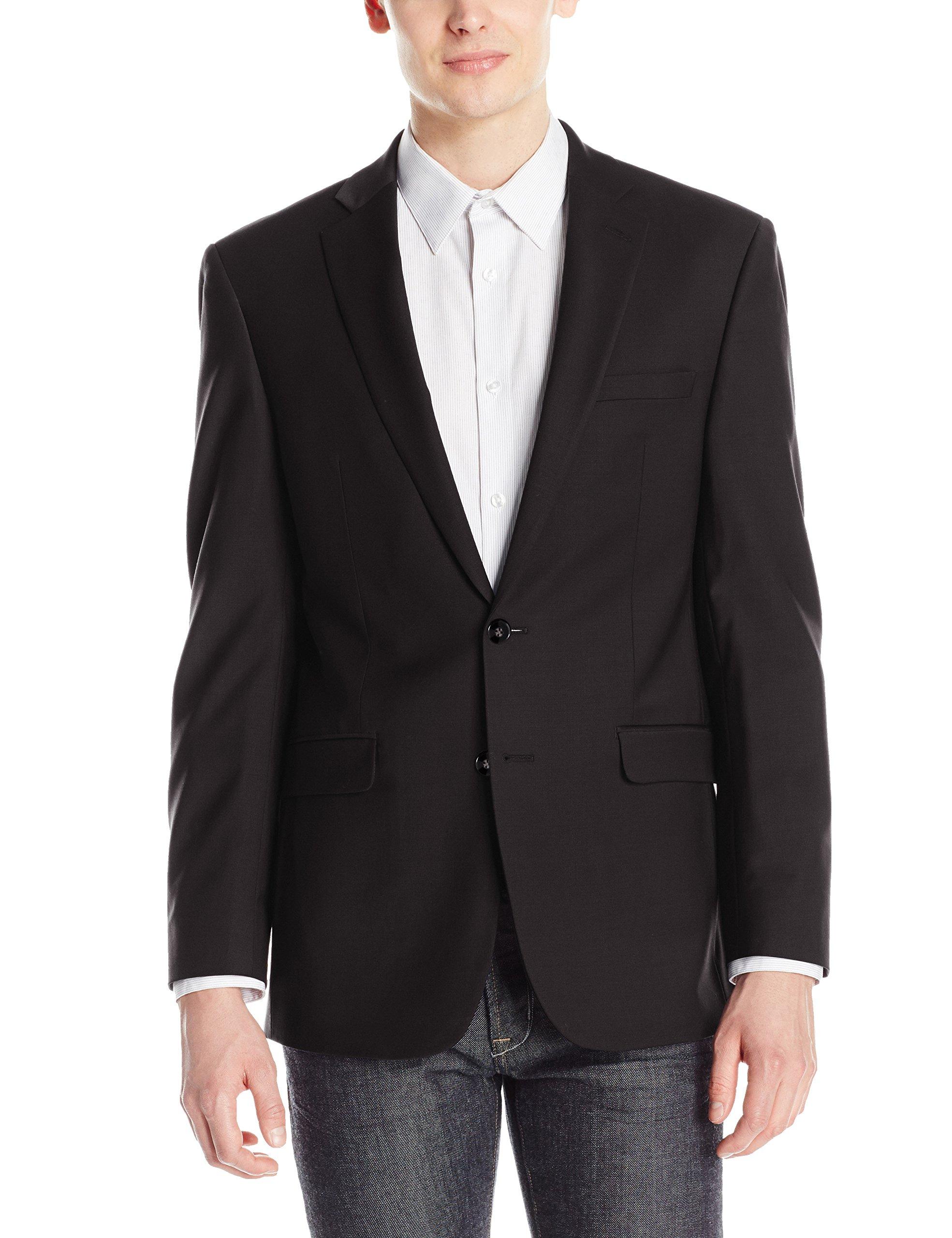 Calvin Klein Men's X-Fit Slim Stretch Suit Separate (Blazer and Pant), Black, 48 Regular