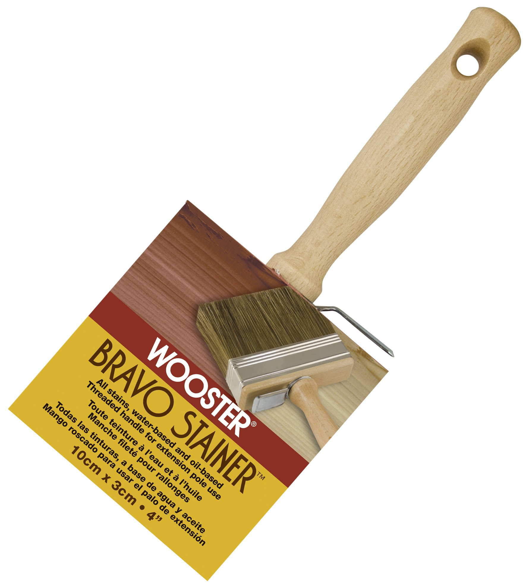 Wooster Brush Not Available F5119-4 Bravo Stainer Bristle/Polyester Stain Brush, 4 Inch, 4-Inch by Wooster Brush