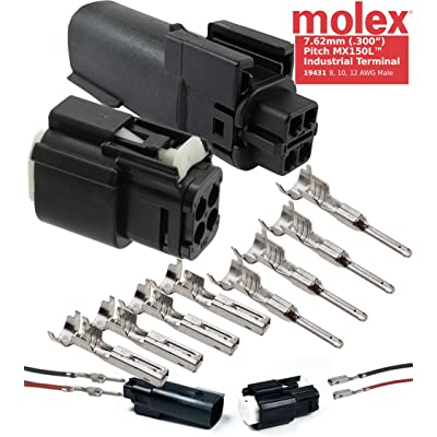 """Molex MX150L Sealed 4 Pin Wire Connector Male and Female Housing W/ 10-12 Awg 7.62mm (.300"""") Pitch, Waterproof ATV UTV Car Truck: Automotive"""