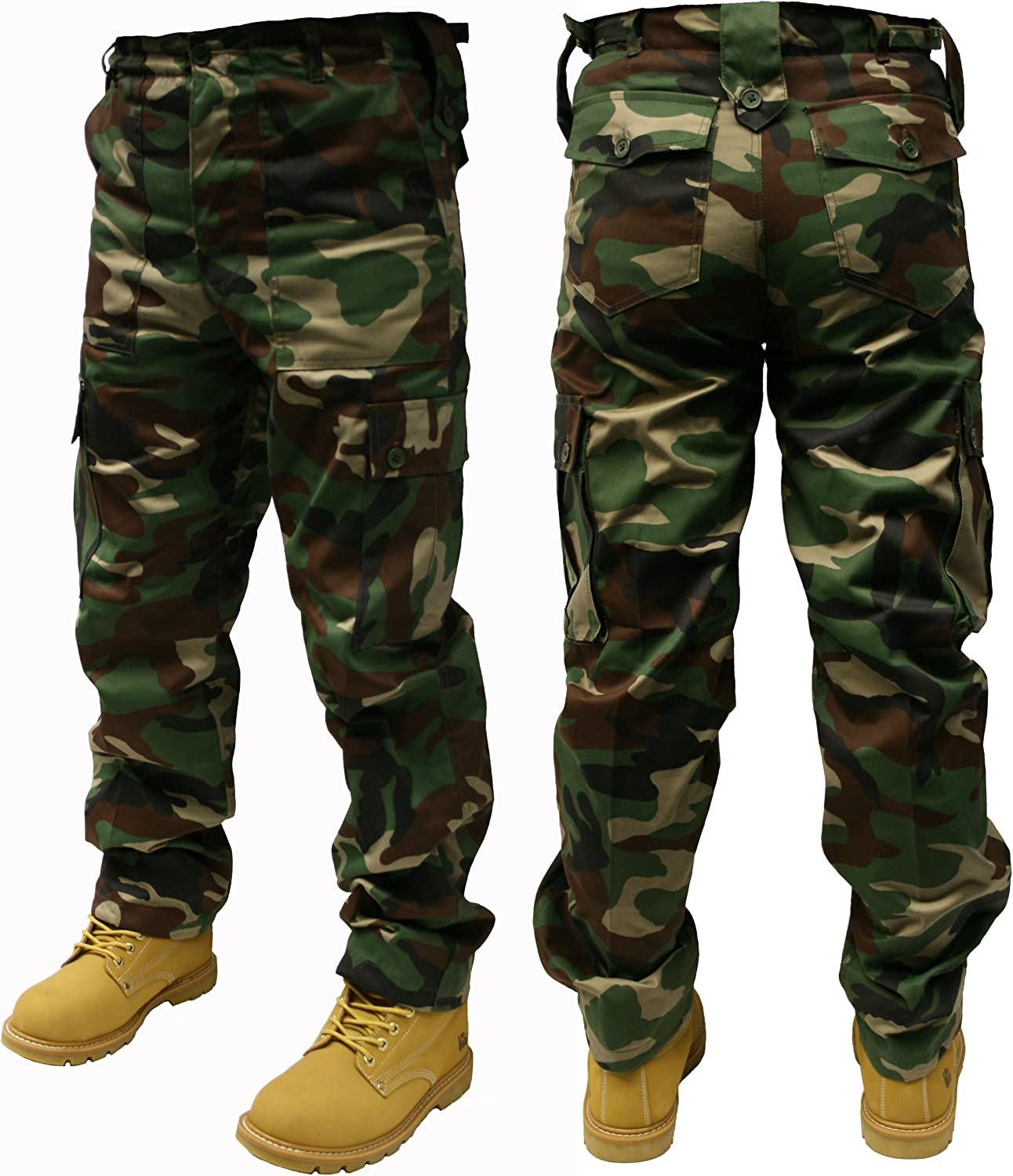 12 Different CAMO Patterns Dallaswear Adults Camo Army Cargo Combat Trousers 30-50 Must See!