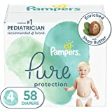 Diapers Size 4, 58 Count - Pampers Pure Protection Disposable Baby Diapers, Hypoallergenic and Unscented Protection, Super Pa