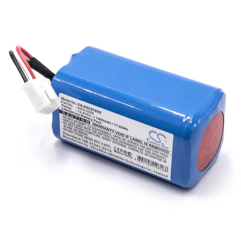 vhbw Li-Ion batería 1400mAh (12.8V) para Robot limpiasuelos Robot autónomo de Limpieza como Philips 4IFR19/66: Amazon.es: Electrónica