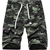 APTRO Men's Cargo Shorts Relaxed Fit Multi-Pockets Drawstring Cotton Casual Shorts