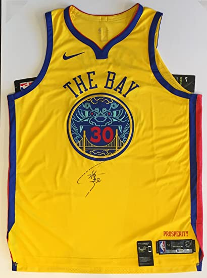 e43d25399 Stephen Curry Autographed Golden State Warriors Jersey - On-Court Authentic  GOLD Authentic Chinese Heritage