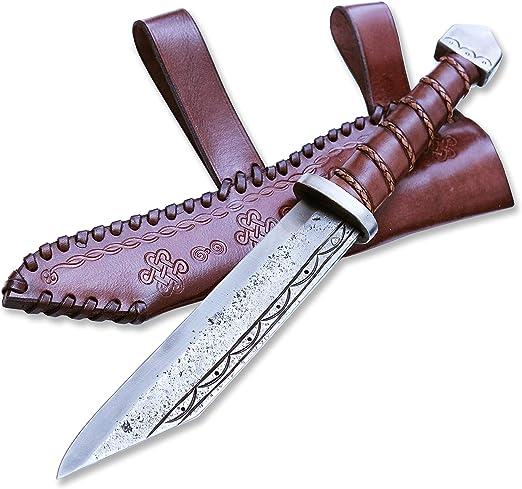 Madhammers Cuchillo de Hoja Fija de Sharp en Punta - Diseño Antiguo Elegante - Estuche de Cuero Genuino marrón Incluido - Regalo Original: Amazon.es: Hogar