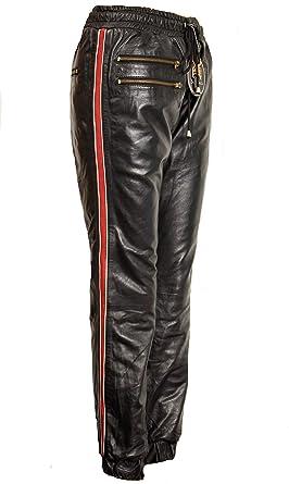 Lederhose als Jogginghose in ECHT-Leder Seitenstreifen in schwarz für Damen