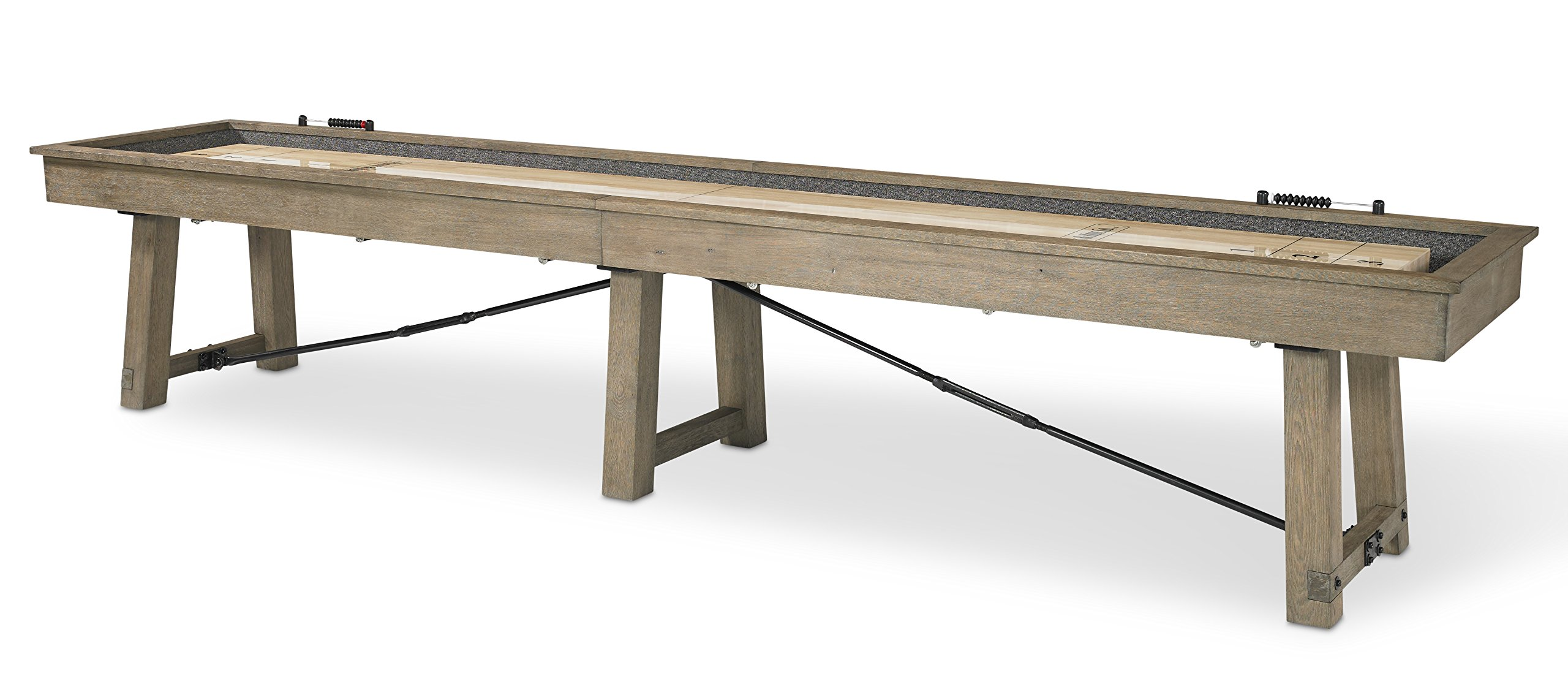 Plank and Hide Isaac Shuffleboard Table Gaming Table for Home & Hotel - Solid Oak - 12' / 14'-Installation Included by Plank and Hide