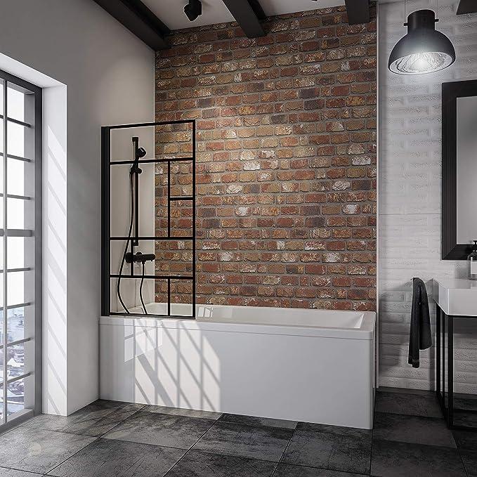 Schulte - Mampara para bañera giratoria, plegable, pantalla de bañera negra, 1 panel plegable, cristal decorativo, 80 x 140 cm: Amazon.es: Bricolaje y herramientas
