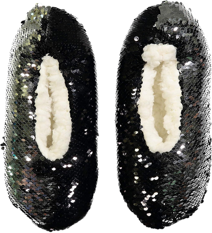 Fuzzy Babba Womens Magic Sequin Slipper Socks