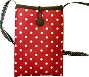 Tainada Small Crossbody Smartphone Pouch, Shockproof Cross Body Shoulder Wallet Travel Purse Bag for iPhone 12 Pro, 12 Mini, 11 Pro, Samsung Galaxy S20, A51, Google Pixel 4a, 5 (Polka Dot (Red)