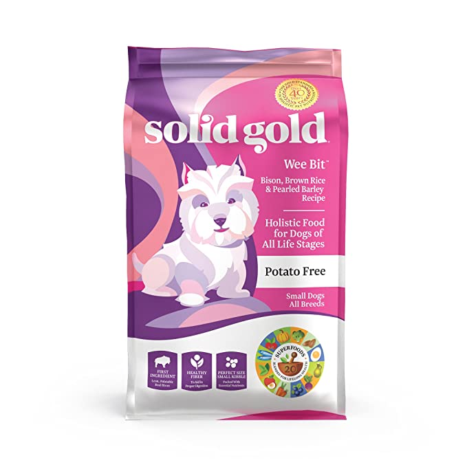 Solid Gold Wee Bit Holistic Dry Dog Food, Bison & Brown Rice with Pearled Barley, Active Dogs of All Life Stages, Small, 4lb Bag