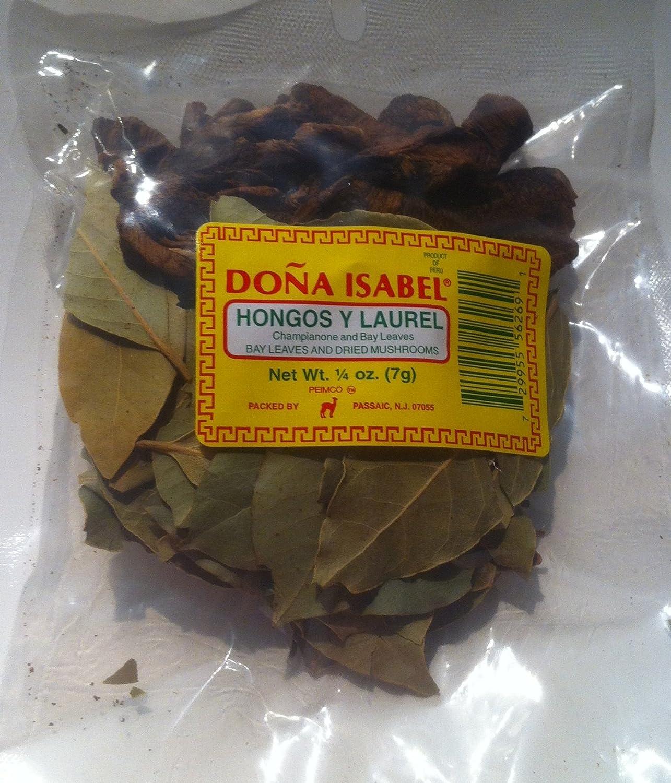 Doña Isabel Hongos Y Laurel - Baby Leaves and Dried Mushrooms (Single Bag 1/4oz) Product of Peru