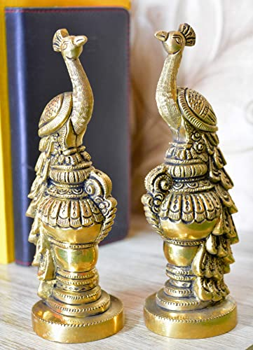 Aakrati Pair of Handmade Small Sitting Brass Peacock Figurine Showpiece – Table Decor Gift
