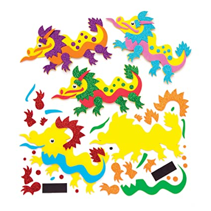 b3979355beb Amazon.com  Baker Ross Chinese Dragon Mix   Match Magnet Kits (Pack of 6) Chinese  New Year Arts and Crafts for Kids  Toys   Games