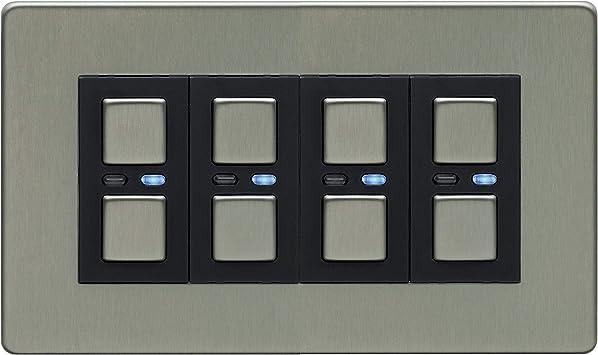 Lightwave RF 4 Gang Connect Dimmer Brushed Stainless Steel