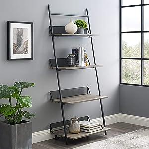 Walker Edison Furniture Company Modern Industrial Metal and Wood Ladder Bookcase Bookshelf Home Office Living Room Storage, 64 Inch, Grey Wash