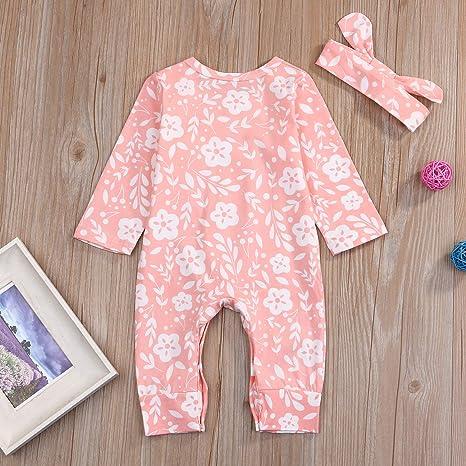 e6c876456ef Amazon.com  GRNSHTS Newborn Baby Girl Clothes Cute Floral Long Sleeve  Romper