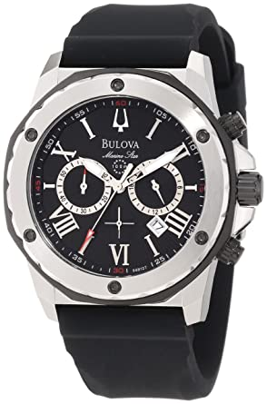 d8633be3407 Image Unavailable. Image not available for. Color  Bulova Men s 98B127 Marine  Star Black Dial Strap Watch