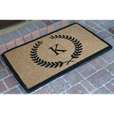 A1 Home Collections First Impression Divina Handwoven Extra Thick Leaf Doormat Monogrammed K,Large (24 X39 )