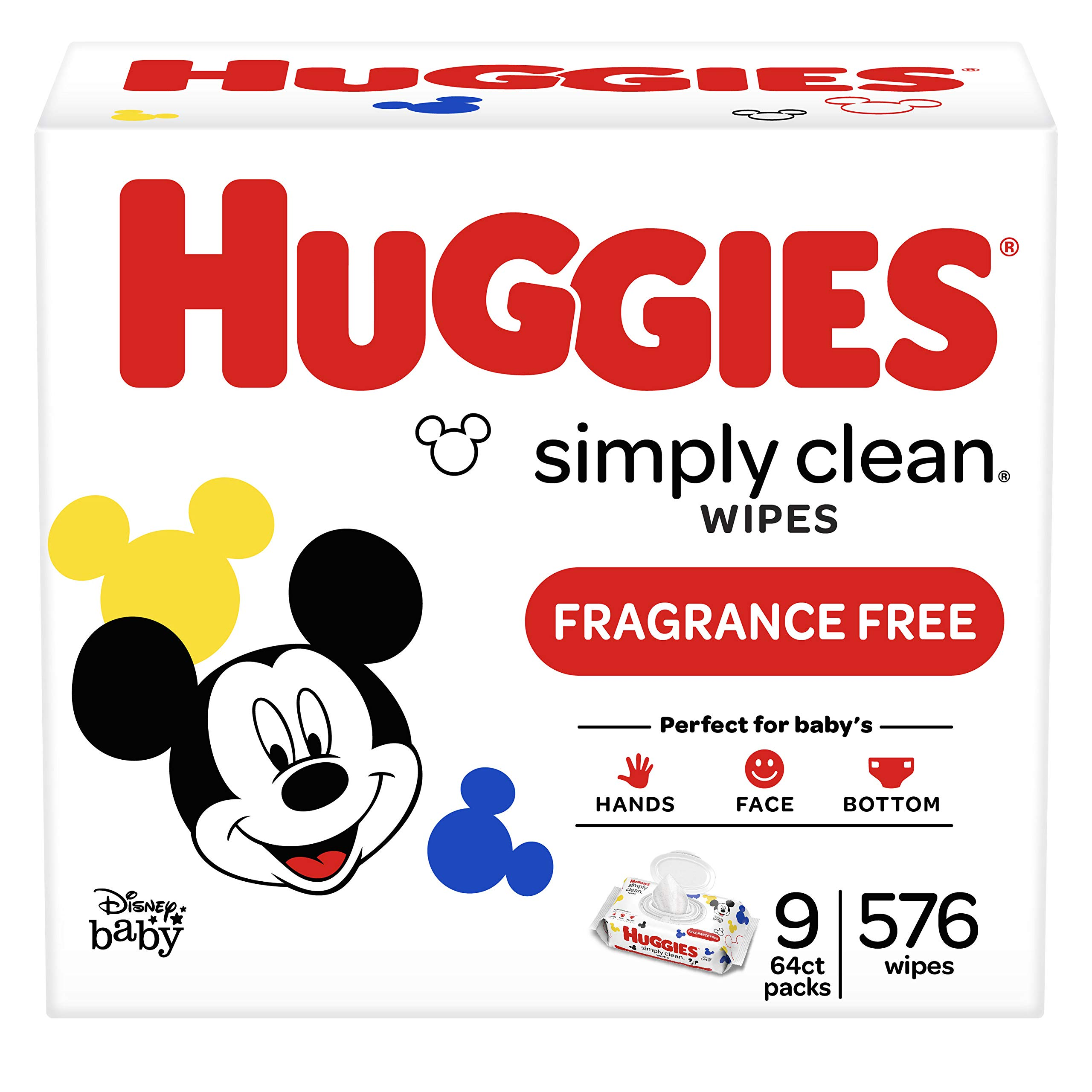 HUGGIES Simply Clean Fragrance-free Baby Wipes, Soft Pack (9-Pack, 576 Sheets Total), Alcohol-free, Hypoallergenic (Packaging May Vary) by Huggies