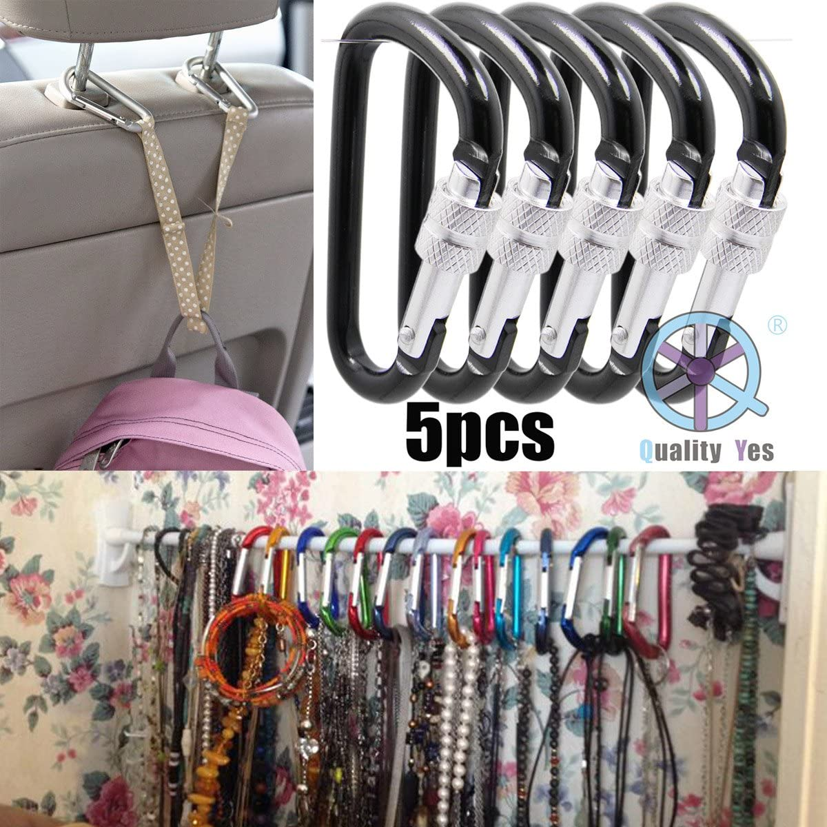 QY 5PCS Royal Blue Color 2.55 Inches Long Aluminum Screw-Locking Key Holder Spring Snap Hook Keychain D Shape Quality Yes