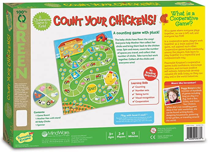 Peaceable Kingdom New Count Your Chickens Counting Board Game for Kids Ages 3