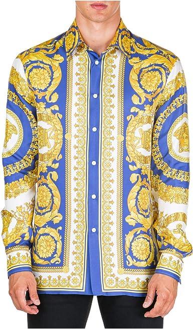 Versace Hombre Camisa barocco Giallo 40 cm: Amazon.es: Ropa