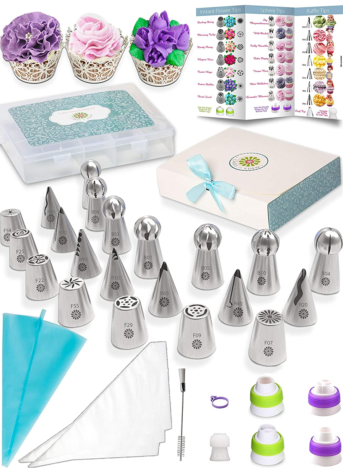 Russian Piping Tips Variety Set - 3 Types of Icing Nozzles Endless Combos | 69pc Kit Cake Decorating Supplies | Numbered Quick Start User Guide | Flower Shaped Frosting | Storage Case + Accessories Cakes of Eden