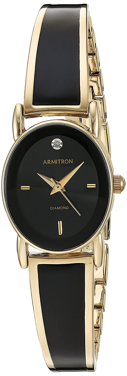 Armitron Women s 75 5423BKGP Diamond-Accented Dial Gold-Tone and Black Bangle Watch