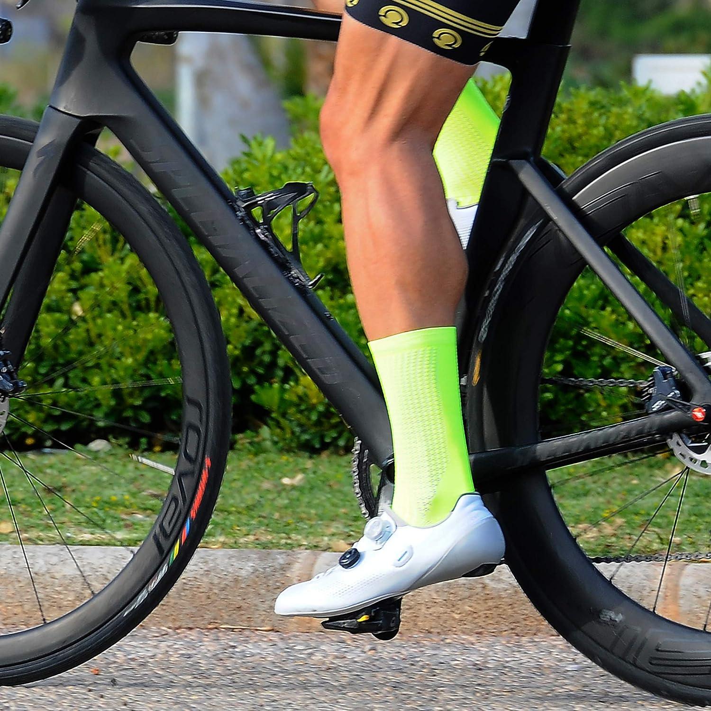 NORTEI MTB y Running de Meryl para Hombre y Mujer Calcetines Amarillo Fl/úor para Ciclismo Talla /Única 39-46 Absolute Yellow