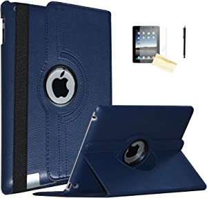 JYtrend Case for Old iPad 2(2011)/iPad 3(2012)/ iPad 4(2012), Rotating Stand Smart Case Cover Magnetic Auto Wake Up/Sleep for A1395 A1396 A1397 A1403 A1416 A1430 A1458 A1459 A1460 (Navy Blue)