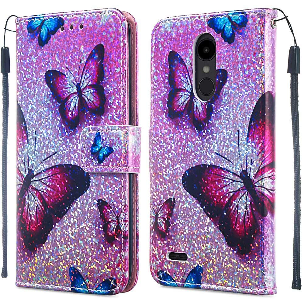 Voanice Wallet Case for LG Aristo 2 /Aristo 3 /Aristo 2 Plus/Tribute Empire/Tribute Dynasty/Phoenix 4/Rebel 4/Zone 4/Fortune 2/Rebel 3 LTE with Card Slots Holder Kickstand Flip Cover-Pink Butterfly