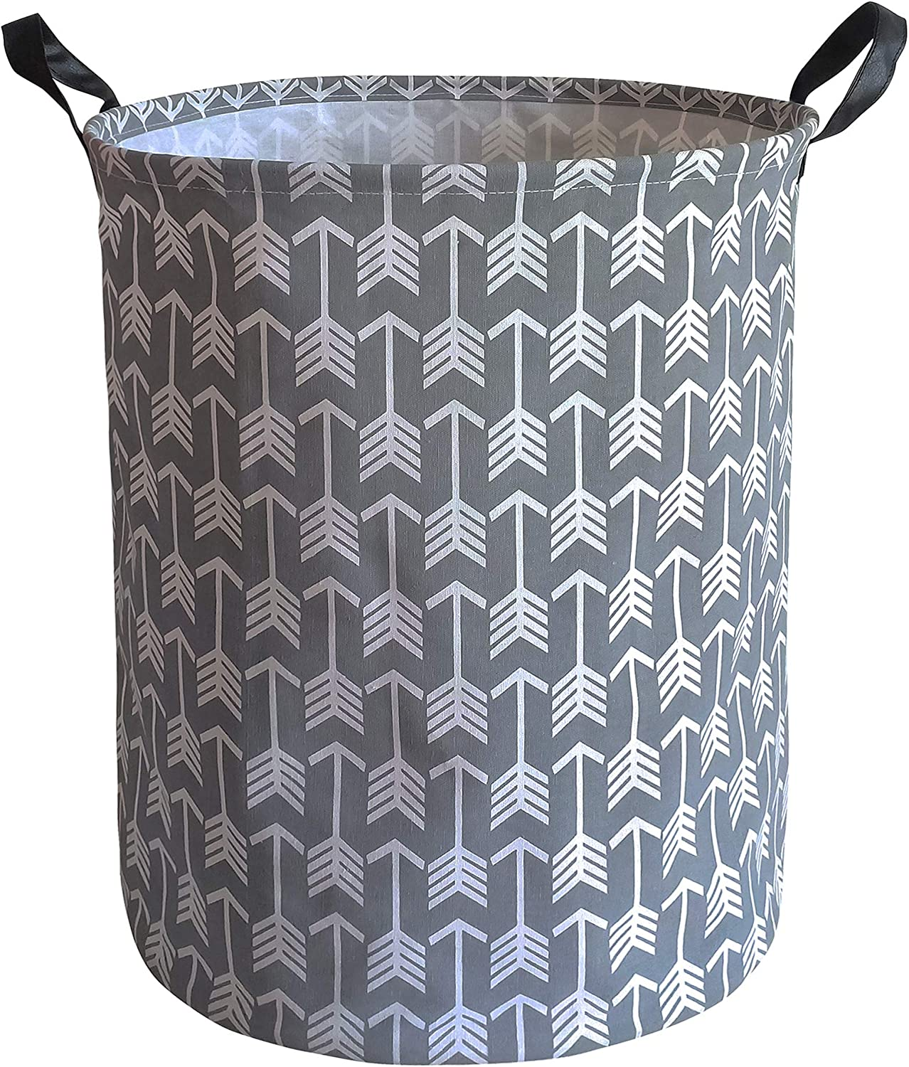 KUNRO Large Sized Storage Basket Waterproof Coating Organizer Bin Laundry Hamper for Nursery Clothes Toys (Gray Arrow)